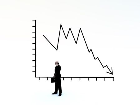 turmoil: Businessman And Credit Crunch Graph Stock Photo