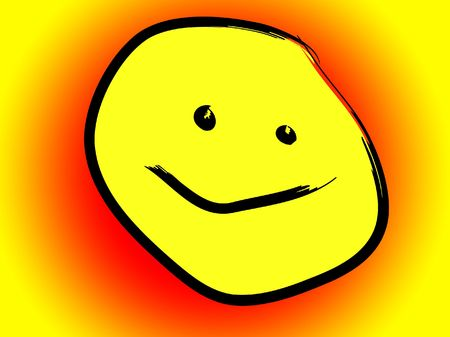 blissful: A smiling cartoon yellow face.