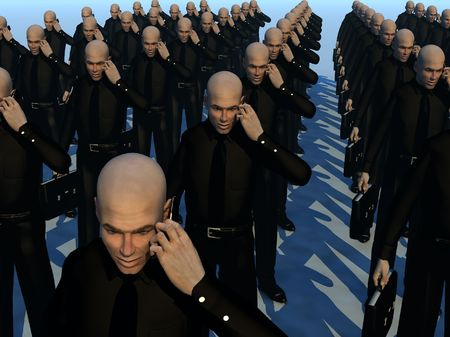 Lots of identical businessmen for business concepts. Stock Photo