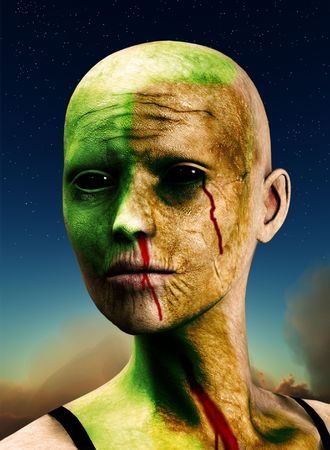 Zombie against a sky for Halloween concepts. Stock Photo - 4873632