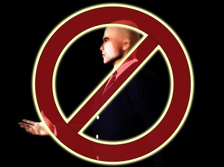 banning the symbol: Conceptual image about banning bankers.