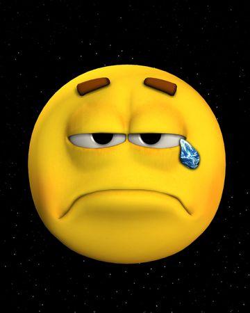 공간에서 지구 눈물을 울고 슬픈 얼굴의 개념 이미지.