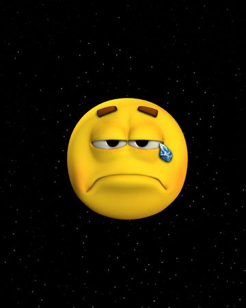 cheerless: Concept image of a sad face crying earth tears in space. Stock Photo