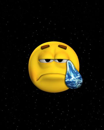 Concept image of a sad face crying earth tears in space. photo