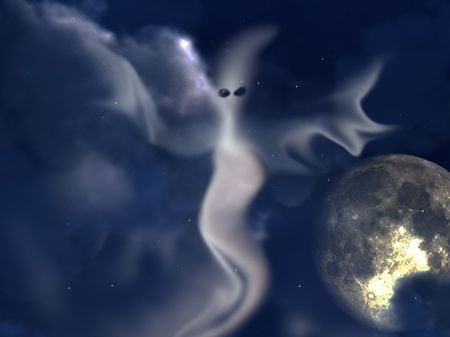 ghostlike: Spooky ghost against a nighttime sky. Stock Photo