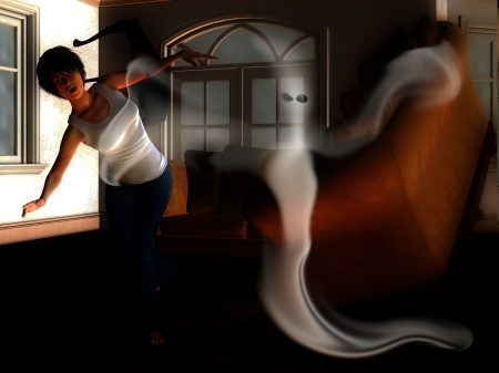 traumatised: Ghost haunting the interior of a house.