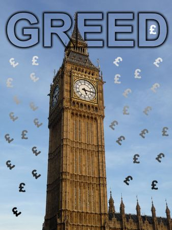 Concept representing greed in Parliament. photo