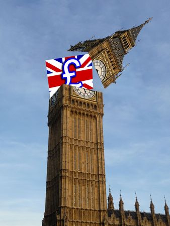 brit: British pound popping out of the houses of Parliament. Stock Photo