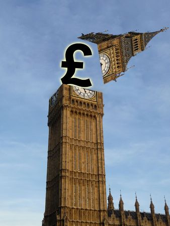 British pound popping out of the houses of Parliament. photo
