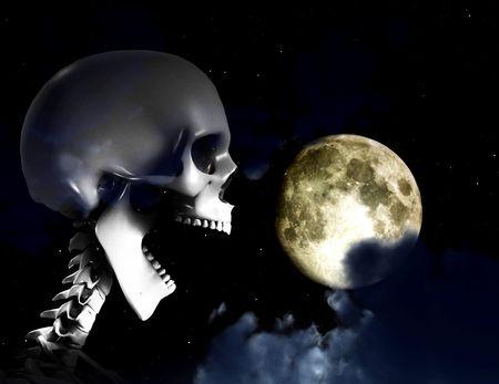 Shouting Skeleton And Nighttime Sky Stock Photo - 4956473