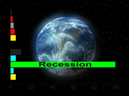 numerical: Conceptual image representing the world in economic crises.
