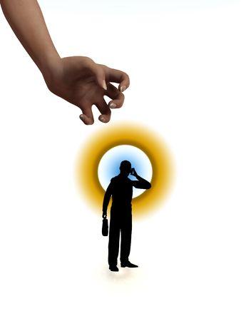 chosen: Concept image of a businessman that has been chosen. Stock Photo