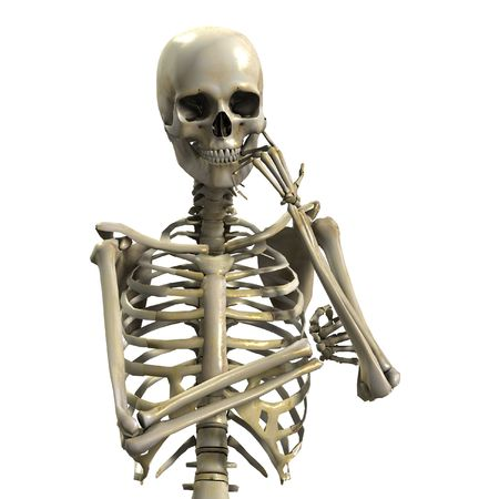 skeleton skull: A skeleton that is thinking hard. Stock Photo