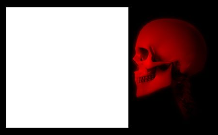 customisable: Skull with a blank customisable sign. Stock Photo