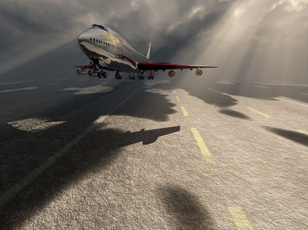 atmospheric: A passenger plane about to take off. Stock Photo