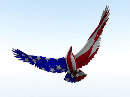 patriotic eagle: Concept image of an American eagle with the American flag would be good for July 4th.