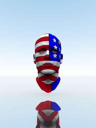 spangled: American head with the American flag on it.