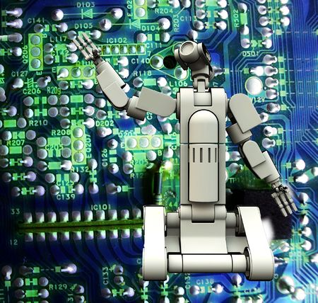 An android against a circuit board background. Stock Photo - 5151913