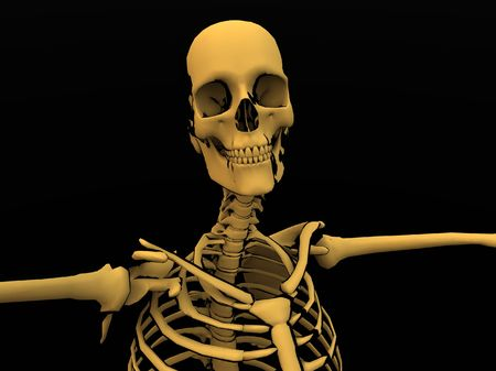 terrifying: Image of a cartoon style Skeleton. Stock Photo