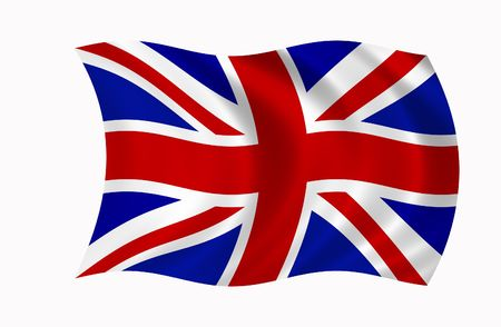 The Union Jack flag blowing in the wind.