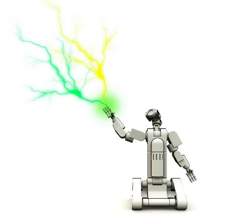 A futuristic droid shooting out electricity.