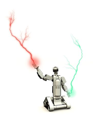 droid: A futuristic droid shooting out electricity.