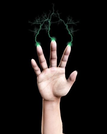 Conceptual image of a hand that is shooting out bolts of lightning. Stock Photo - 5372114