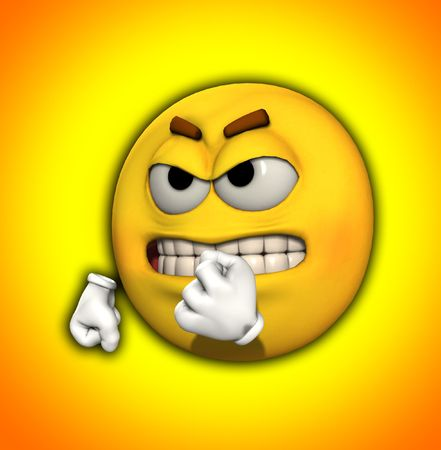 Image of a very angry yellow cartoon man.