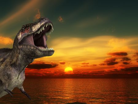 A Tyrannosaurus Rex roaring at a sunrise. Stock Photo