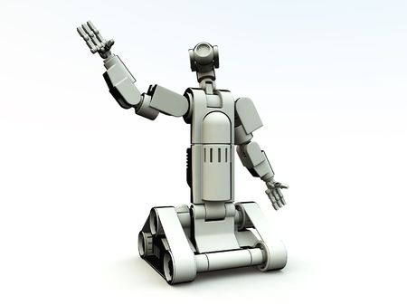 engineered: An image of a futrestric android with a white background. Stock Photo