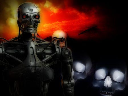 massacre: An image of a futuristic war involving androids.