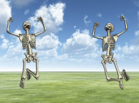 Some active skeletons that are jumping around.  photo