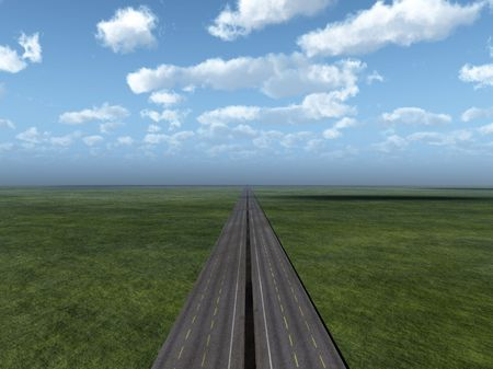 disappears: Image of a road that disappears on the horizon.