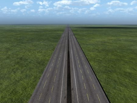 disappears: Image of a road that disappears on the horizon.  Stock Photo