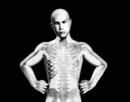ribcage: A medical image showing an X rayed man.
