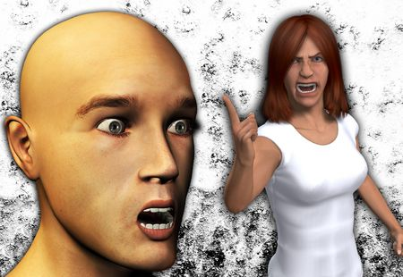 confrontational:  Angry women telling of a shocked man.