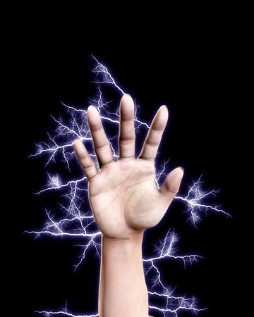 A hand that is shooting out electricity. Stock Photo - 5432848