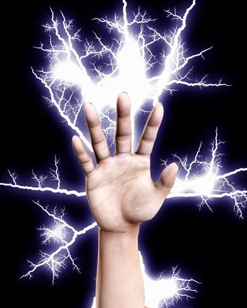 A hand that is shooting out electricity. Stock Photo - 5432847