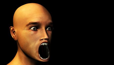 traumatized: Concept image of a man with a shocked face.