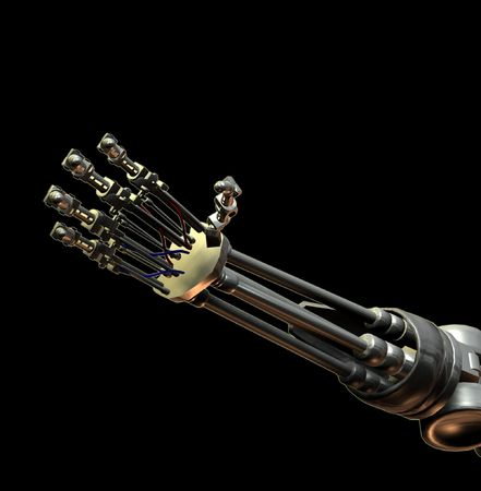 An outreaching hand from a futuristic android. photo