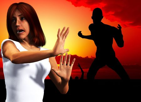 fearing: A women who is shocked or afraid of a zombie. Stock Photo
