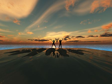 A silhouetted family by a sea landscape. photo