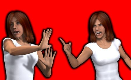 confrontational: One women who is very angry with another women. Stock Photo