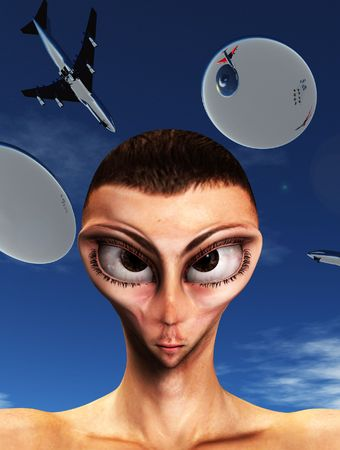 A sinister looking face of an alien hybrid. Stock Photo - 5597296