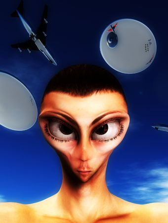 A sinister looking face of an alien hybrid. Stock Photo - 5597342