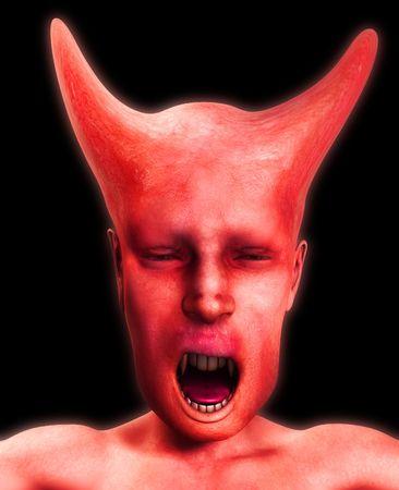 wail: A horrible vampire monster face for Halloween.