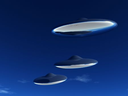 ufos: Three UFOs that are flying in formation in the sky. Stock Photo