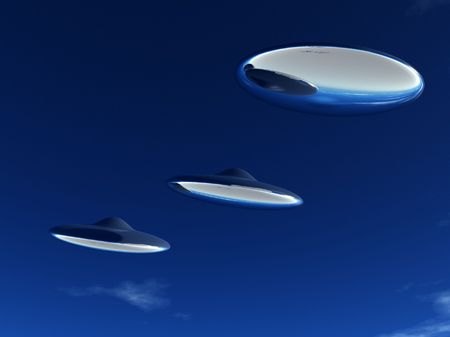 Three UFO's that are flying in formation in the sky. Stock Photo - 5597344