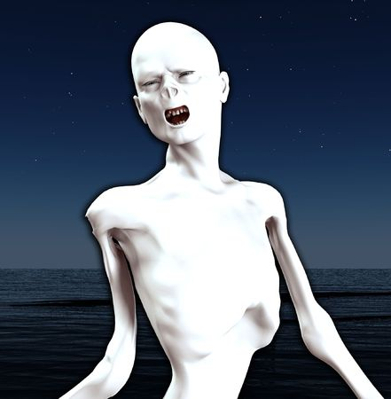 emaciated: Image of a think screaming Zombie for Halloween.