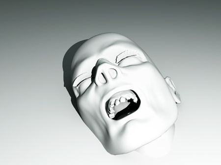 rotten teeth: Zombie face that is coming out of a white background. Stock Photo